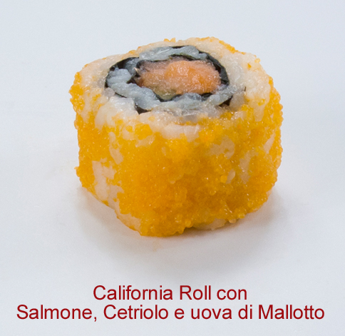 California Roll con salmone, cetriolo e uova di mallotto - Sushi classic