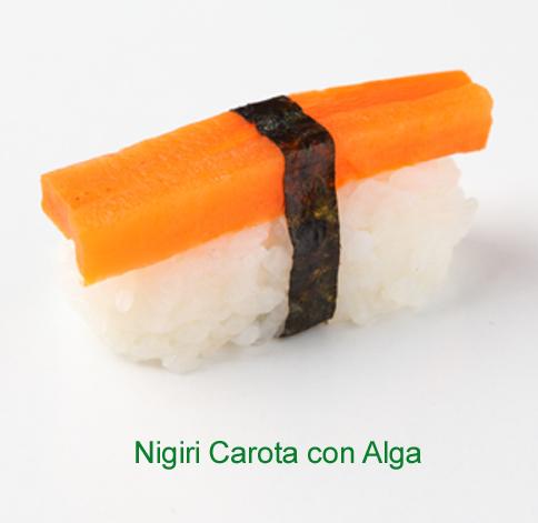 Nigiri carota con alga - Sushi vegetariano